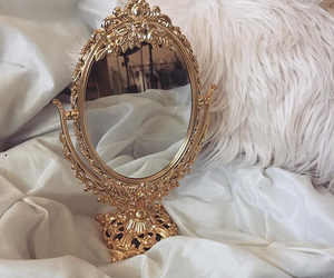 mirror, gold, and aesthetic image