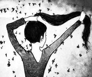 hair, bird, and drawing image