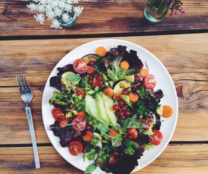 food, girl, and salad image