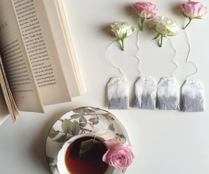 flowers, book, and tea image