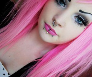 piercing and pink hair image