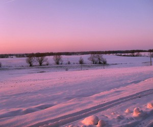 snow, pink, and sky image