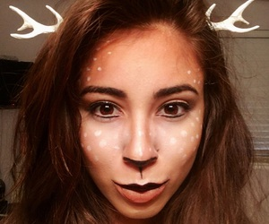 antlers, girl, and makeup image