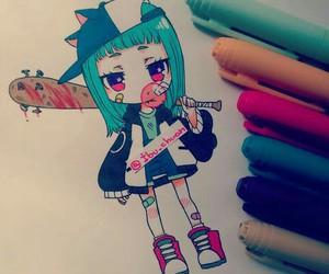 anime girl, blue hair, and chibi image