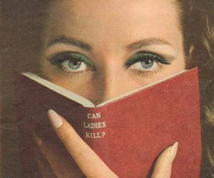 lady, book, and vintage image
