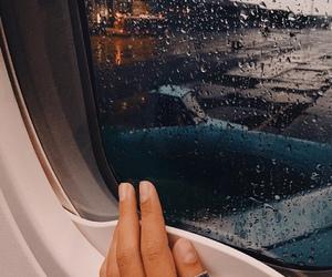 travel, airplane, and rain image