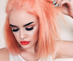 hair, makeup, and orange image