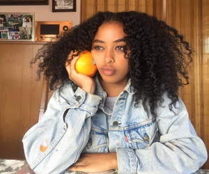 curly hair, hair, and orange image