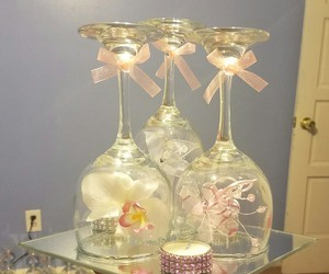 bling, centerpieces, and glass image