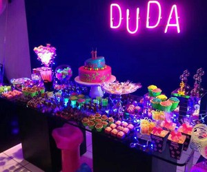 neon, birthday, and cake image