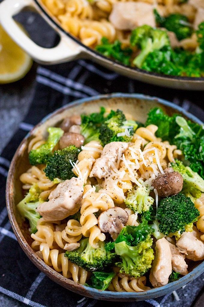 pasta, broccoli, and burger image