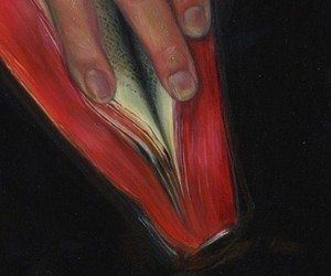 book, art, and red image