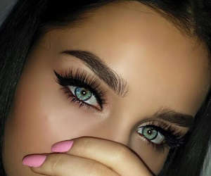 eyes, eyebrows, and girl image