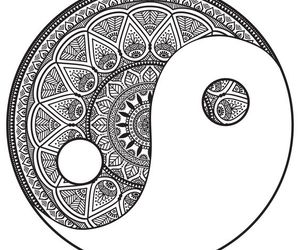 mandala, black, and white image