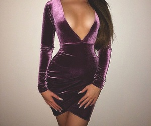 dress, purple, and velvet image