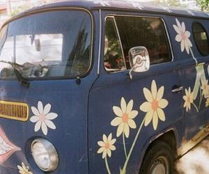 flowers, van, and hippie image