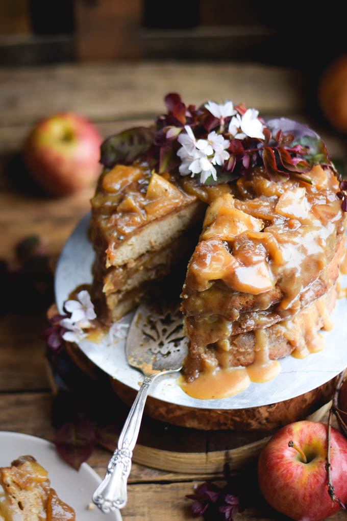 apple, cake, and caramel image
