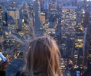 blonde, city, and roof image