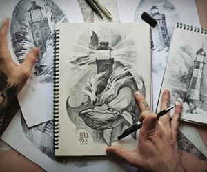 art, drawing, and lighthouse image
