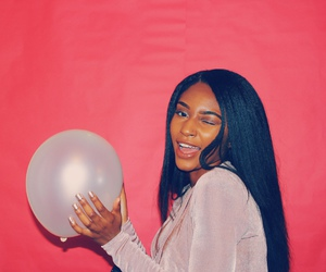 balloon, blackgirl, and pink image