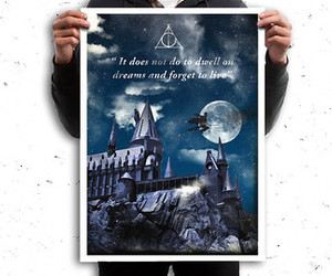 harry potter, hogwarts, and poster image
