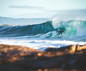 beach, surfer, and water image