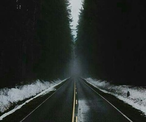road, snow, and forest image
