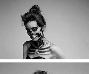 black and white, skeleton, and skull image