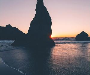 sea, landscape, and sunset image