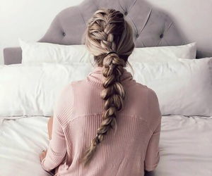 hair, braid, and pink image