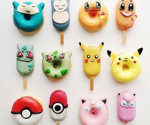 donuts, ice cream, and pikachu image
