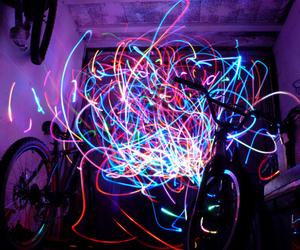 light, neon, and bike image