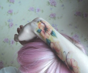 tattoo, flowers, and hair image