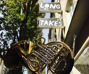 french horn, quote, and nature image