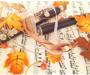 autumn, flute, and leaves image