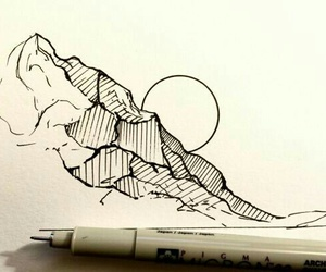 drawing, mountains, and sun image