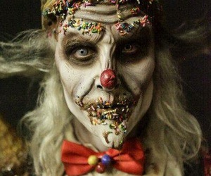 face off, clown, and Halloween image
