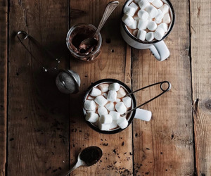 marshmallow, chocolate, and autumn image