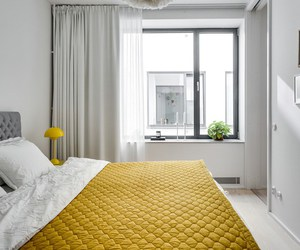 bedroom, design, and yellow image