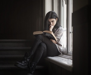 girl, book, and read image