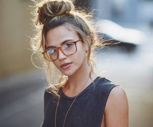 girl, glasses, and model image