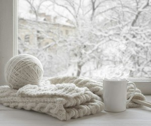 white, winter, and coffee image