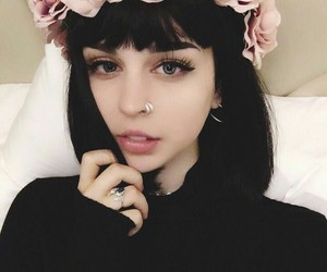 girl, black, and flowers image