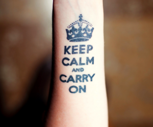 keep calm, tattoo, and carry on image