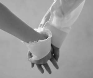 black and white, hands, and holding hands image