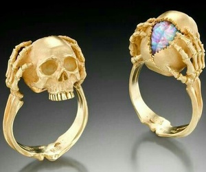ring, gold, and skull image