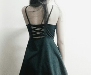 asian girl, green, and prom dress image