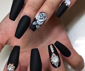 black and white, nails, and rose image