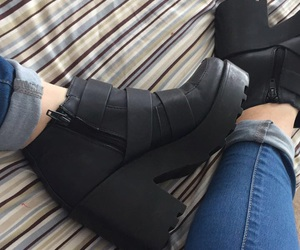 black, blue, and boots image