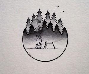 art, drawing, and camping image